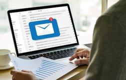 A mensagem da conexão de uma comunicação do correio ao envio pelo correio contacta o telefone Fotografia de Stock