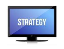 Mensagem da estratégia no monitor Imagem de Stock
