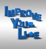 a mensagem da inspiração do texto 3D melhora sua vida ilustração stock