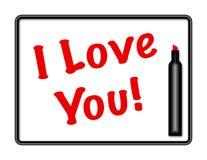 Mensagem da placa do marcador eu te amo Ilustração do Vetor