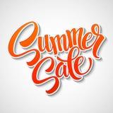 Mensagem da venda do verão no fundo alaranjado Foto de Stock