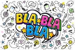 Mensagem de Bla Bla Bla no estilo do pop art ilustração do vetor