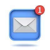 Mensagem de correio eletrónico nova da notificação uma do email no conceito do botão do inbox Fotografia de Stock Royalty Free