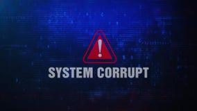 Mensagem de erro de advertência do alerta corrompido do sistema que pisca na tela ilustração royalty free