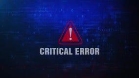 Mensagem de erro de advertência do alerta do erro crítico que pisca na tela ilustração royalty free