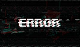 Mensagem de erro, pulso aleatório, ilustração do vetor da falha de sistema, fundo preto do efeito do pulso aleatório ilustração stock