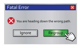 A mensagem de erro Regroup fotografia de stock royalty free