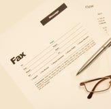 Mensagem de fax Fotografia de Stock