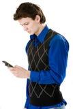 Mensagem de texto da escrita do homem novo Imagens de Stock Royalty Free