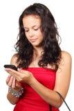 Mensagem de texto da leitura da mulher isolada no branco Imagem de Stock Royalty Free