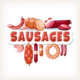 Mensagem de texto do insctiption do mantimento da rotulação do emblema das salsichas imagem de stock royalty free