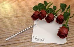 Mensagem do amor com papel e pena do vintage Fotografia de Stock Royalty Free