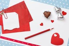 Mensagem do amor do dia de Valentim, inacabado Foto de Stock Royalty Free