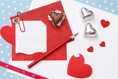 Mensagem do amor do dia de Valentim, inacabado Fotos de Stock Royalty Free