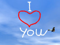Mensagem do amor do fumo biplan - 3D rendem Foto de Stock