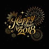 Mensagem 2018 do ano novo feliz com ouro do fogo de artifício na noite Imagem de Stock