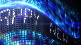 Mensagem do ano novo feliz na tela azul do pixel ilustração stock