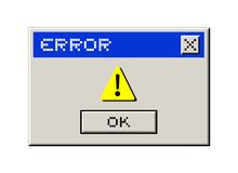 Mensagem do computador do erro Fotografia de Stock Royalty Free