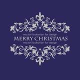Mensagem do Feliz Natal e obscuridade - fundo azul Fotografia de Stock