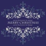 Mensagem do Feliz Natal e obscuridade - fundo azul Fotos de Stock