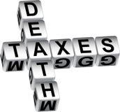 mensagem dos dados da morte 3D e dos impostos Fotografia de Stock