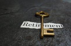 Mensagem e chave da aposentadoria foto de stock royalty free