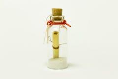 Mensagem em uma flutuação do frasco Fotografia de Stock Royalty Free