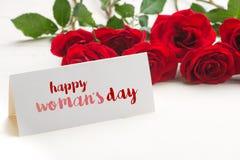Mensagem feliz do dia da mulher Imagens de Stock