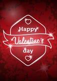 A mensagem feliz do dia de Valentim no vermelho borrou o fundo Fundo retro do vetor do vintage Fotos de Stock