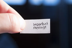 Mensagem importante Fotos de Stock Royalty Free