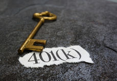 mensagem 401K e chave Foto de Stock Royalty Free