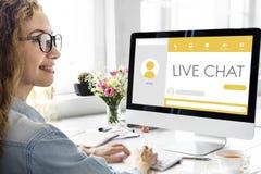 Mensagem Live Chat Communication Concept fotos de stock royalty free