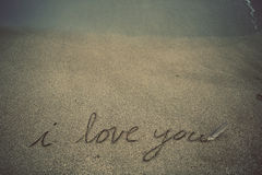 Mensagem na areia Fotografia de Stock