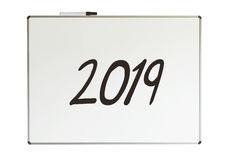 2019, mensagem no whiteboard Fotos de Stock Royalty Free
