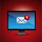 Mensagem nova em uma tela do PC Imagem de Stock Royalty Free