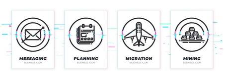 Mensagem, planeamento, migração, mineração O tema do negócio glitched os ícones pretos ajustados fotos de stock royalty free