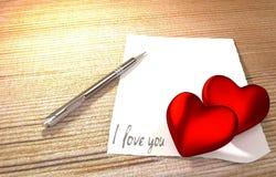 Mensagem romântica na tabela de madeira Fotografia de Stock Royalty Free