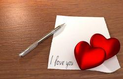 Mensagem romântica na tabela de madeira Imagens de Stock Royalty Free