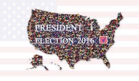 Mensagem sobre a eleição presidencial 2016 com o mapa dos EUA Imagens de Stock