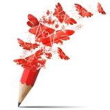 Mensagens de pulverização do lápis vermelho creativo. ilustração stock