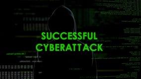 Mensaje acertado del cyberattack, pirata informático que consigue el acceso al sistema, ataque de la privacidad metrajes