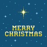 mensaje de 8 bits de la Feliz Navidad del pixel con la estrella de Belén Fotografía de archivo libre de regalías