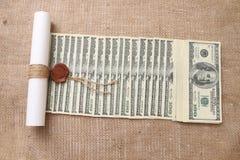 Mensaje de dólares en interés Imágenes de archivo libres de regalías