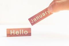 Mensaje de enero del concepto hola en el palillo Fotografía de archivo libre de regalías