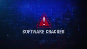Mensaje de error amonestador de la alarma agrietada del software que centella en la pantalla stock de ilustración