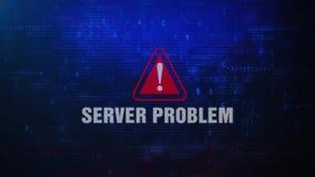 Mensaje de error de cuidado de la alarma del problema del servidor que centella en la pantalla almacen de metraje de vídeo