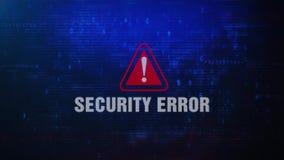 Mensaje de error de cuidado de la alarma del error de la seguridad que centella en la pantalla metrajes