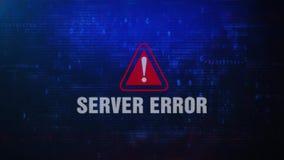Mensaje de error de cuidado de la alarma del error de servidor que centella en la pantalla almacen de video