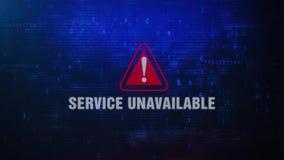 Mensaje de error de cuidado de la alarma inasequible del servicio que centella en la pantalla almacen de metraje de vídeo