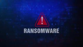 Mensaje de error de cuidado de la alarma de RANSOMWARE que centella en la pantalla stock de ilustración